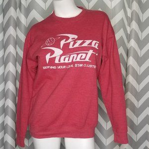 PIZZA PLANET TOY STORY red pullover sweater